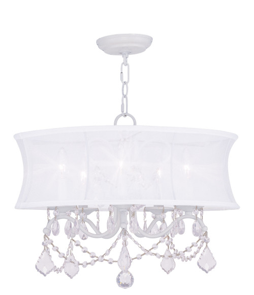 LIVEX Lighting 6305-03 Newcastle Chandelier in White (5 Light)