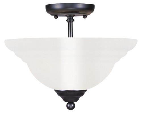 LIVEX Lighting 4259-04 North Port Flushmount in Black (2 Light)
