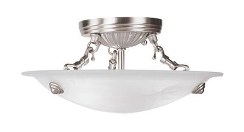 LIVEX Lighting 4272-91 Oasis Contemporary Flushmount in Brushed Nickel (3 Light)