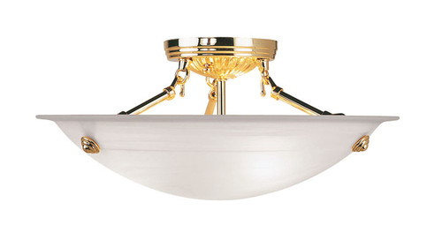 LIVEX Lighting 4273-02 Oasis Contemporary Flushmount in Polished Brass (3 Light)