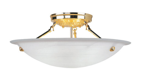 LIVEX Lighting 4274-02 Oasis Contemporary Flushmount in Polished Brass (3 Light)