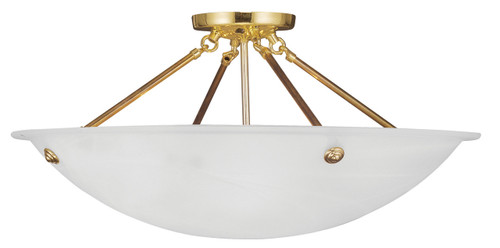 LIVEX Lighting 4275-02 Oasis Contemporary Flushmount in Polished Brass (4 Light)