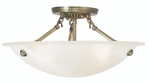 LIVEX Lighting 4273-01 Oasis Contemporary Flushmount in Antique Brass (3 Light)