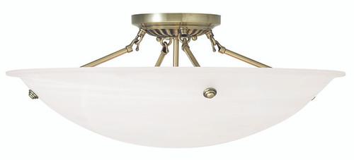 LIVEX Lighting 4275-01 Oasis Contemporary Flushmount in Antique Brass (4 Light)