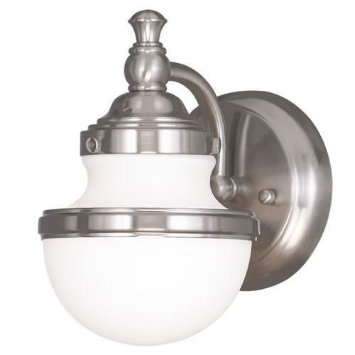 LIVEX Lighting 5711-91 Oldwick Bath Light/Wall Sconce in Brushed Nickel (1 Light)