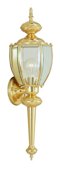 LIVEX Lighting 2112-02 Outdoor Basics Wall Lantern in Polished Brass (1 Light)