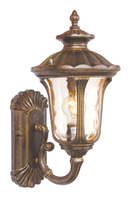LIVEX Lighting 7650-50 Oxford Outdoor Wall Lantern in Moroccan Gold (1 Light)