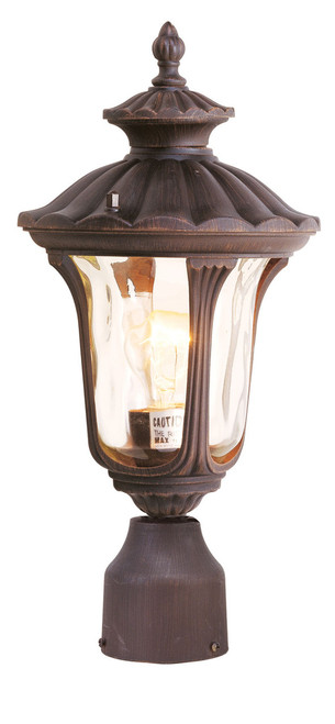 LIVEX Lighting 7667-58 Oxford Outdoor Post Lantern in Imperial Bronze (1 Light)