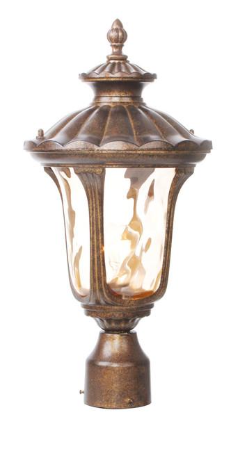LIVEX Lighting 7655-50 Oxford Outdoor Post Lantern in Moroccan Gold (1 Light)