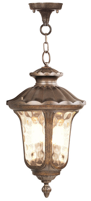 LIVEX Lighting 7665-50 Oxford Chain Lantern in Moroccan Gold (3 Light)