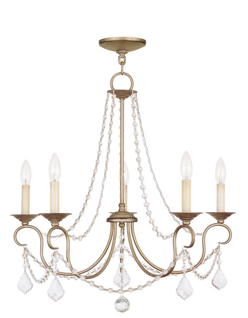 LIVEX Lighting 6515-73 Pennington Chandelier with Hand-Painted Antique Silver Leaves (5 Light)