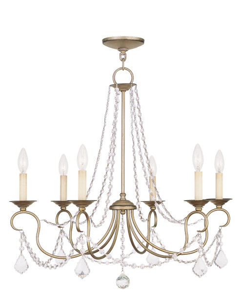 LIVEX Lighting 6516-73 Pennington Chandelier with Hand-Painted Antique Silver Leaves (6 Light)