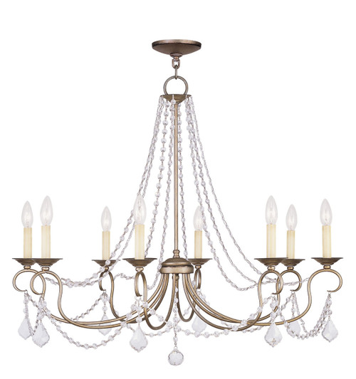 LIVEX Lighting 6518-73 Pennington Chandelier with Hand-Painted Antique Silver Leaves (8 Light)