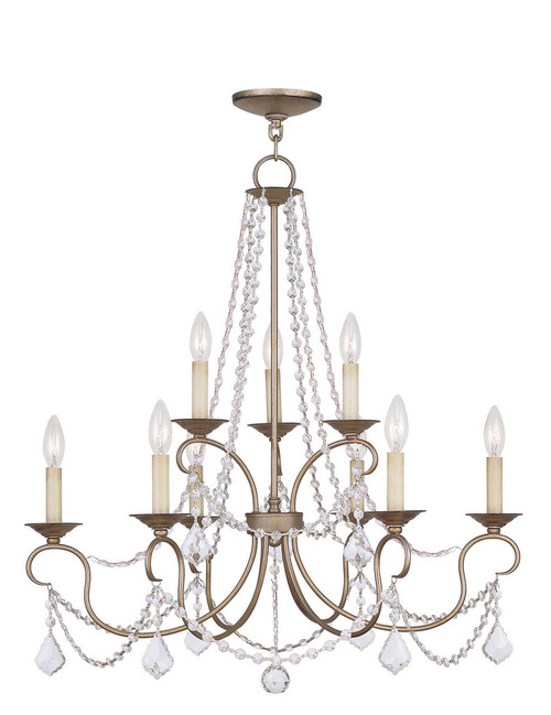 LIVEX Lighting 6519-73 Pennington Chandelier with Hand-Painted Antique Silver Leaves (9 Light)