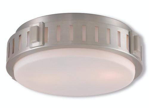 LIVEX Lighting 65511-91 Portland Flushmount in Brushed Nickel (2 Light)