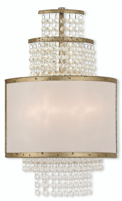 LIVEX Lighting 50782-28 Prescott Wall Sconce with Hand-Applied Winter Gold (2 Light)