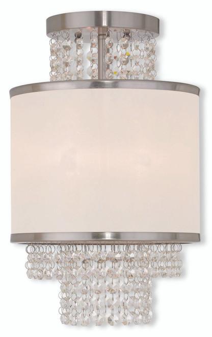 LIVEX Lighting 50792-91 Prescott Flushmount in Brushed Nickel (2 Light)