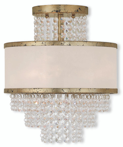 LIVEX Lighting 50793-28 Prescott Flushmount with Hand-Applied Winter Gold (3 Light)