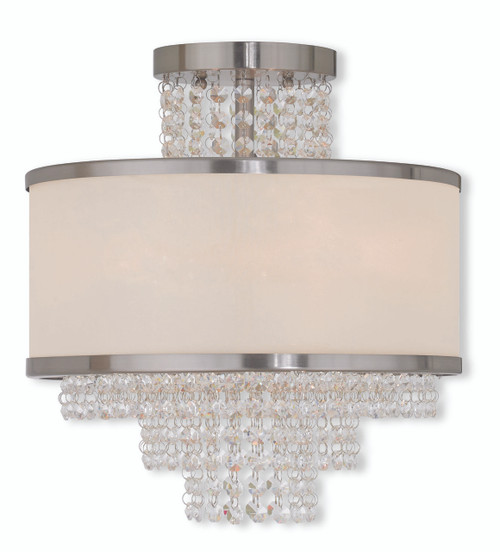 LIVEX Lighting 50794-91 Prescott Flushmount in Brushed Nickel (3 Light)