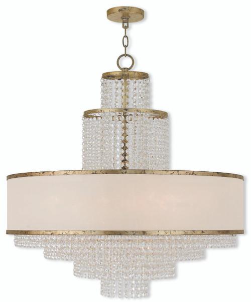 LIVEX Lighting 50788-28 Prescott Chandelier with Hand-Applied Winter Gold (8 Light)