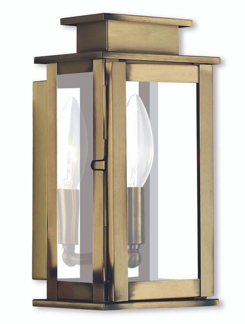 LIVEX Lighting 20191-01 Princeton Wall Lantern in Antique Brass (1 Light)