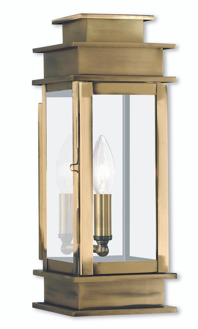 LIVEX Lighting 2013-01 Princeton Wall Lantern in Antique Brass (1 Light)
