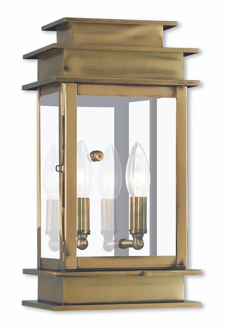LIVEX Lighting 2014-01 Princeton Wall Lantern in Antique Brass (2 Light)