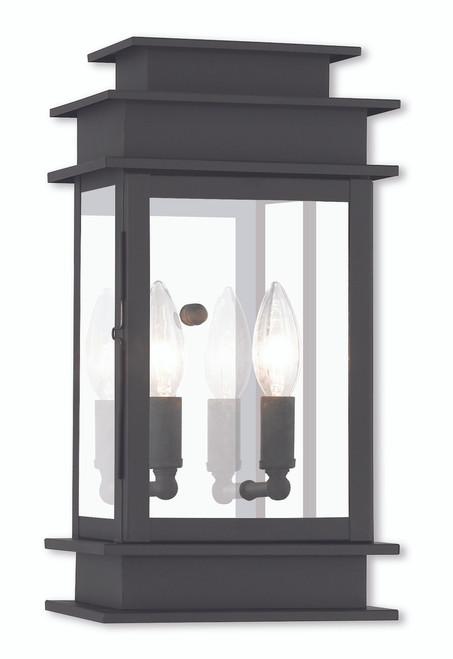LIVEX Lighting 2014-04 Princeton Wall Lantern in Black (2 Light)