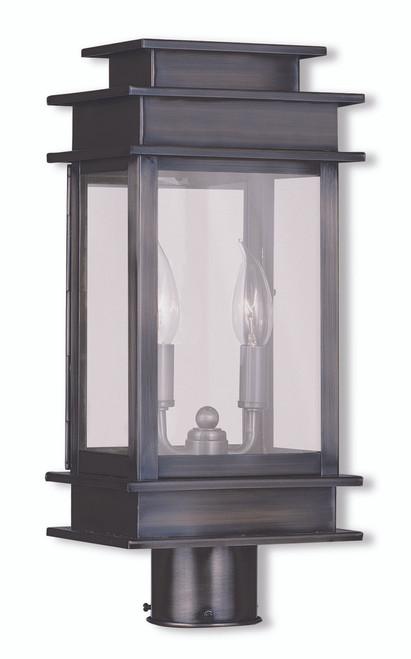 LIVEX Lighting 2015-29 Princeton Outdoor Post Lantern in Vintage Pewter (2 Light)