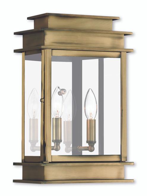 LIVEX Lighting 2016-01 Princeton Wall Lantern in Antique Brass (2 Light)