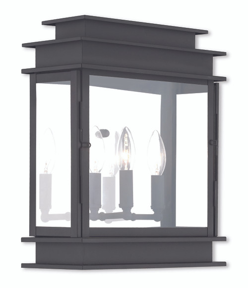LIVEX Lighting 20204-04 Princeton Wall Lantern in Black (3 Light)