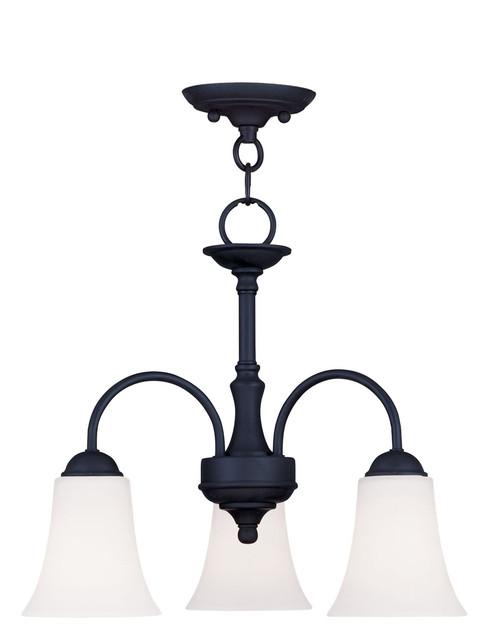 LIVEX Lighting 6464-04 Ridgedale Convertible Chain Hung/Flushmount in Black (3 Light)