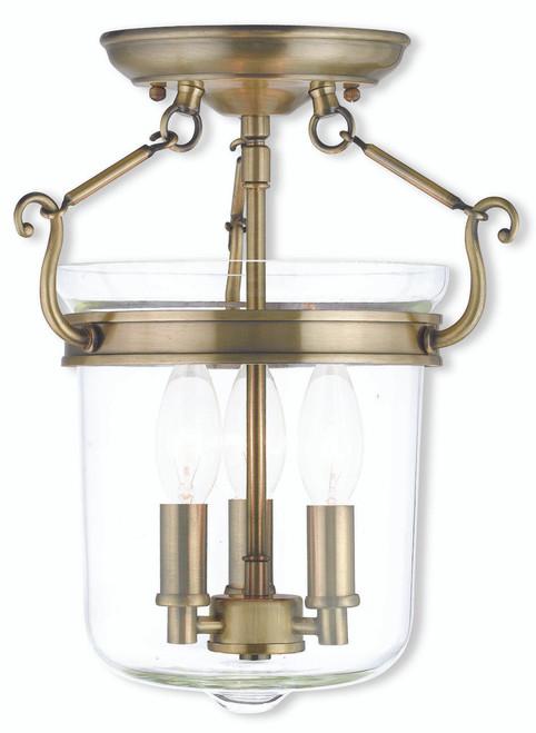 LIVEX Lighting 50481-01 Rockford Flushmount in Antique Brass (3 Light)