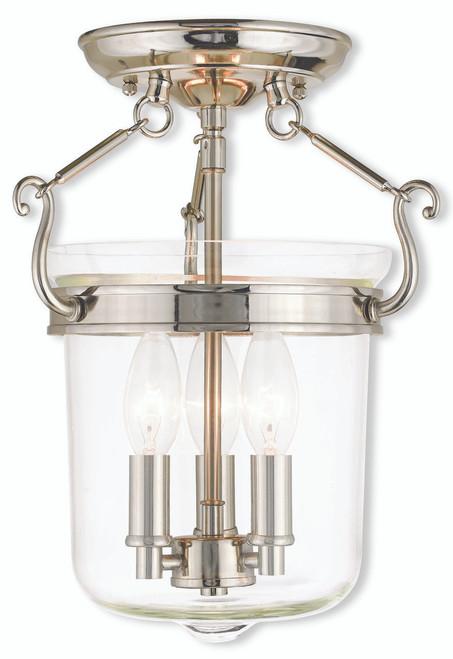 LIVEX Lighting 50481-35 Rockford Flushmount in Polished Nickel (3 Light)