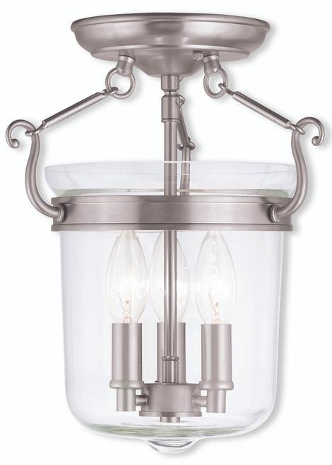 LIVEX Lighting 50481-91 Rockford Flushmount in Brushed Nickel (3 Light)