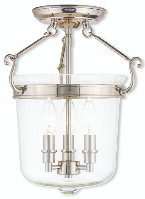 LIVEX Lighting 50483-35 Rockford Flushmount in Polished Nickel (3 Light)