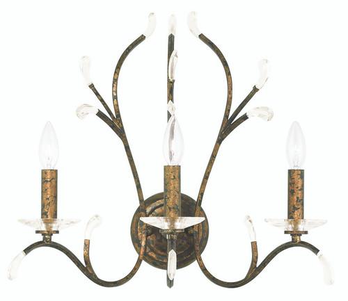 LIVEX Lighting 51013-71 Serafina Wall Sconce with Hand-Applied Venetian Golden Bronze (3 Light)