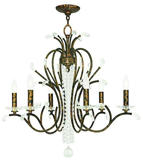 LIVEX Lighting 51006-71 Serafina Chandelier with Hand-Applied Venetian Golden Bronze (6 Light)