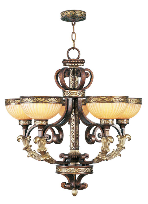 LIVEX Lighting 8545-64 Seville Chandelier in Palacial Bronze with Gilded Accents (5 Light)