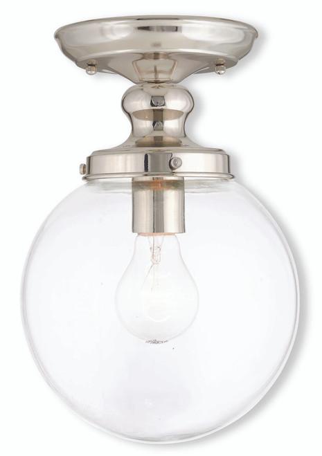 LIVEX Lighting 50901-35 Sheffield Flushmount in Polished Nickel (1 Light)