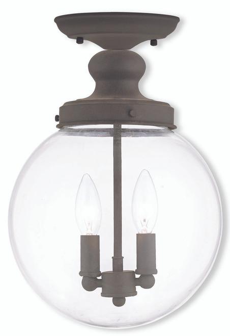 LIVEX Lighting 50903-07 Sheffield Flushmount in Bronze (2 Light)