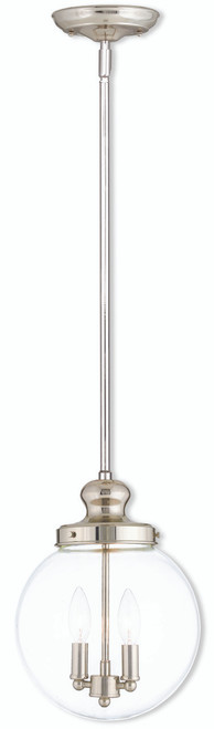 LIVEX Lighting 50904-35 Sheffield Pendant in Polished Nickel (2 Light)