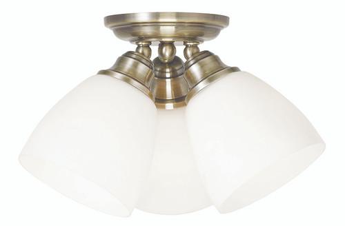 LIVEX Lighting 13664-01 Somerville Flushmount in Antique Brass (3 Light)