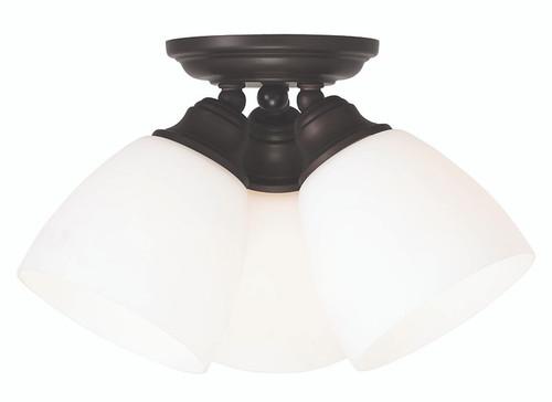 LIVEX Lighting 13664-07 Somerville Flushmount in Bronze (3 Light)