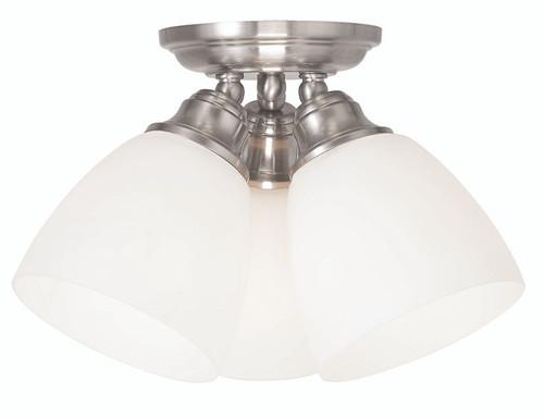 LIVEX Lighting 13664-91 Somerville Flushmount in Brushed Nickel (3 Light)