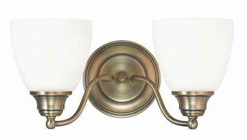 LIVEX Lighting 13672-01 Somerville Bath Light in Antique Brass (2 Light)