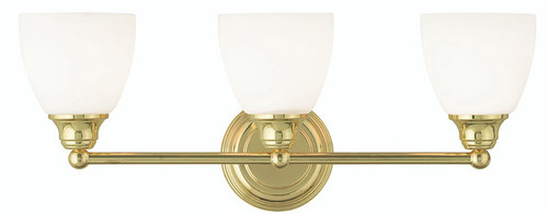 LIVEX Lighting 13663-02 Somerville Bath Light in Polished Brass (3 Light)