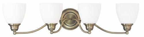 LIVEX Lighting 13674-01 Somerville Bath Light in Antique Brass (4 Light)