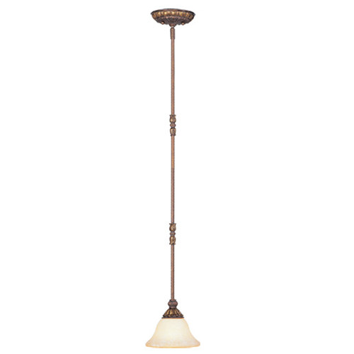 LIVEX Lighting 8610-30 Sovereign Mini Pendant in Crackled Greek Bronze with Aged Gold Accents (1 Light)
