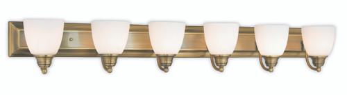 LIVEX Lighting 10506-01 Springfield Bath Light in Antique Brass (6 Light)